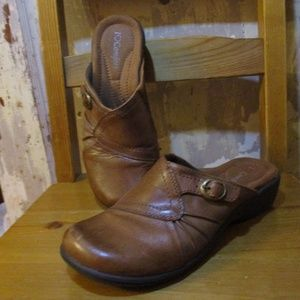I Heart Comfort Womens Brown Leather Shannon Clogs